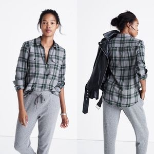 Madewell Zip-front Popover Flannel Washburn EUC M